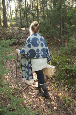 Ullscarf Blåbär, 65x180 +20  cm fransar