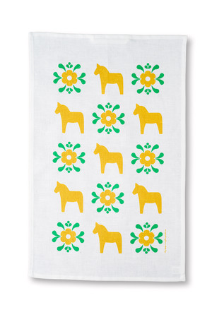 Handduk Dalahäst/kurbits gul/grön