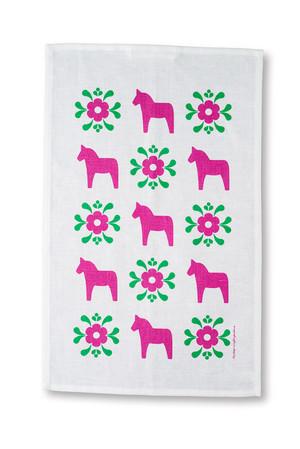 Handduk Dalahäst/kurbits rosa/grön