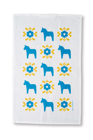 Handduk Dalahäst/kurbits blå/gul