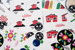 Vykort coasters, Älg blå/gul