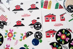 Vykort coasters, Kurbits vit