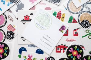 Vykort coasters, Prinsesstårta (Grattiskort)