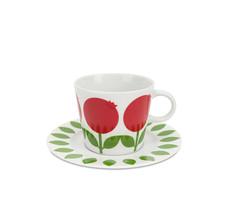 Kaffekopp med fat 25 cl, Lingon