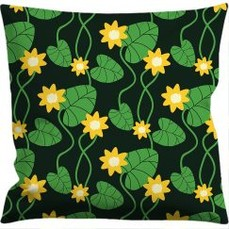 Cushion cover 50x50 cm, Water lily black