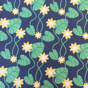 Fabric By The Meter, Water Lily black
