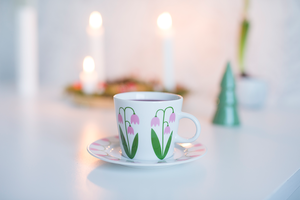 Kaffekopp med fat 25 cl, Linnea