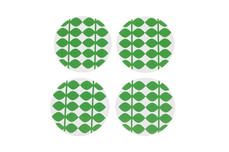 """Glasunderlägg 9 cm, Retro """"leaf green"""" UTGÅR!"""