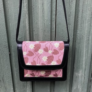 Lether bag, Water Lily pink (black lether)