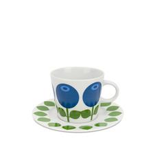 Kaffekopp med fat, Blåbär och blad