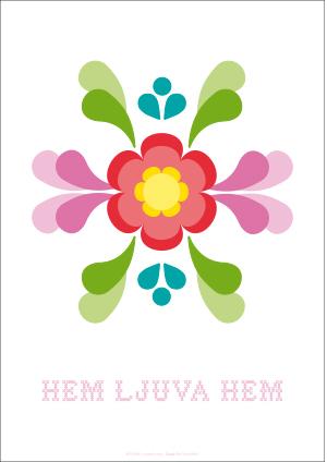 Poster A3, Kurbits vit (hem ljuva hem)